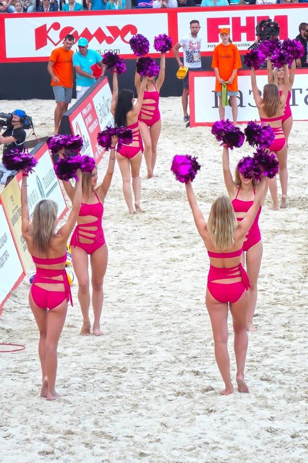 2015年莫斯科封垫响声比赛沙滩排球 库存图片
