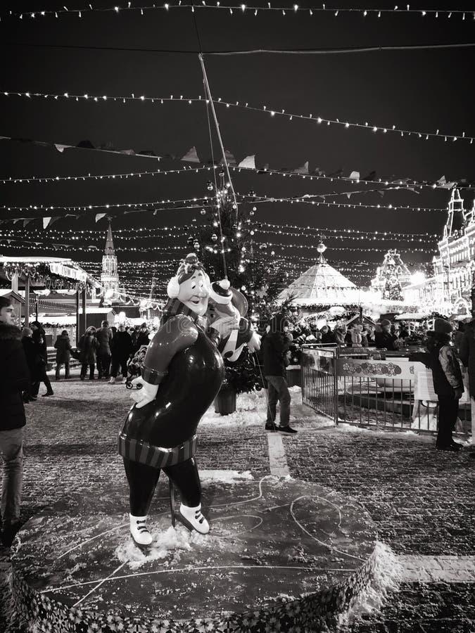 莫斯科市光和圣诞装饰在红场 图库摄影