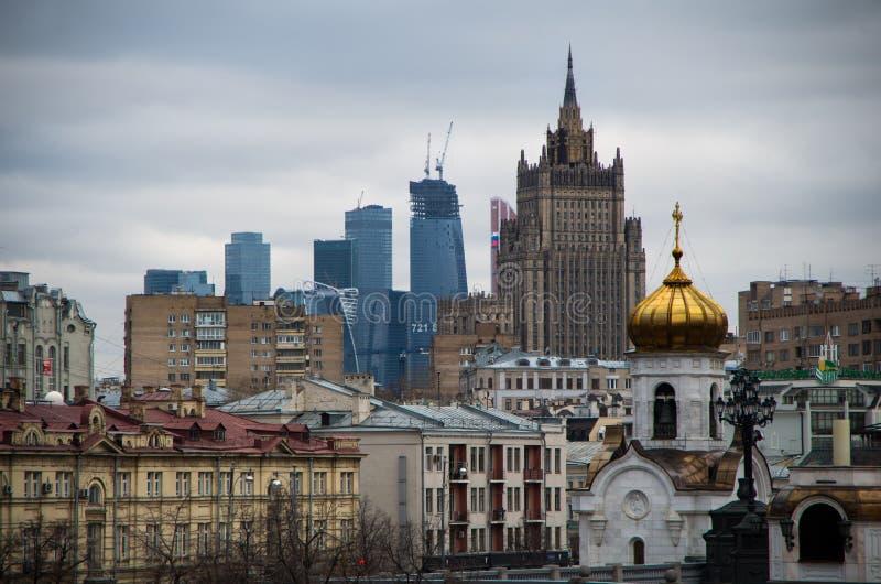 莫斯科市和MFA的看法 免版税库存照片