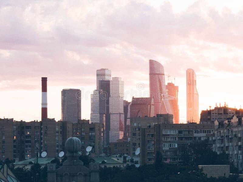 莫斯科市日落 库存图片