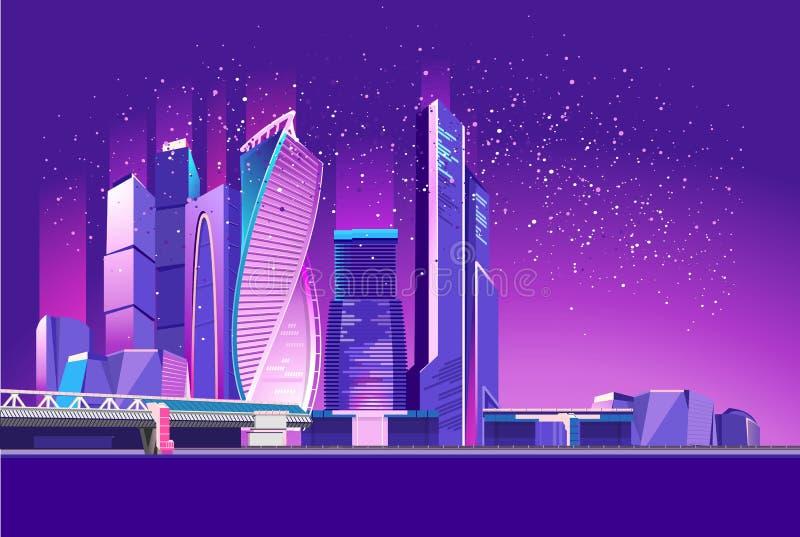 莫斯科市氖 向量例证