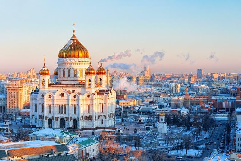 莫斯科市鸟瞰图有基督教会的救主 库存图片