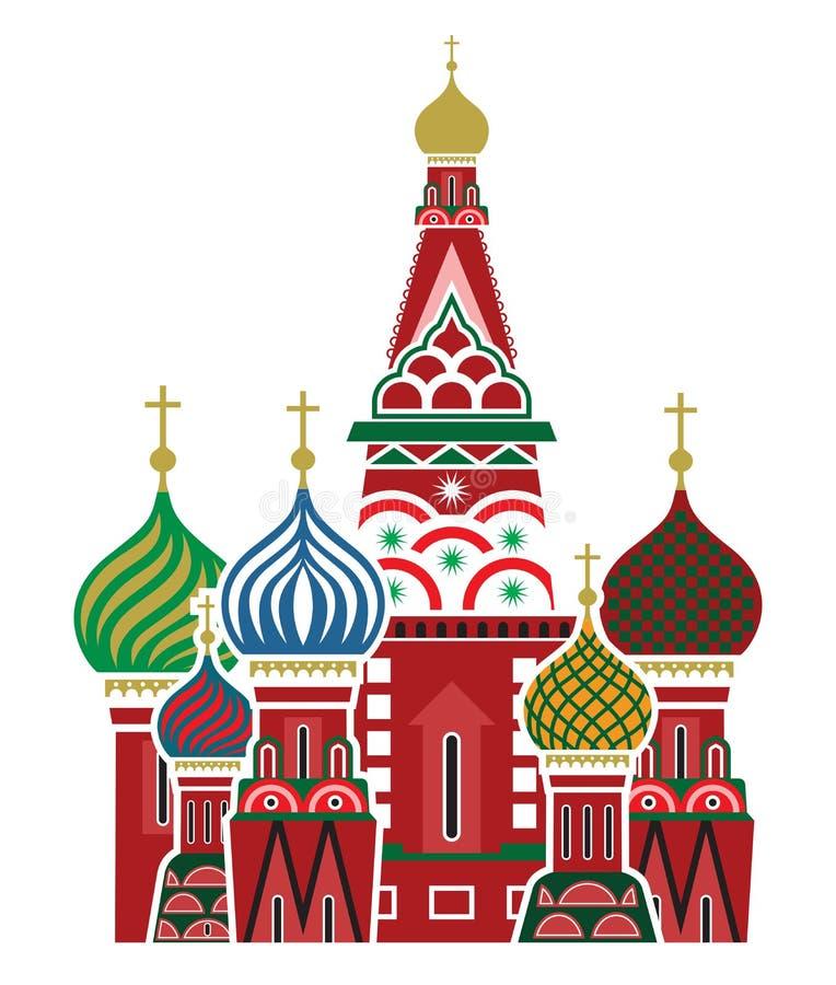 莫斯科标志-圣徒蓬蒿的大教堂,俄罗斯 向量例证