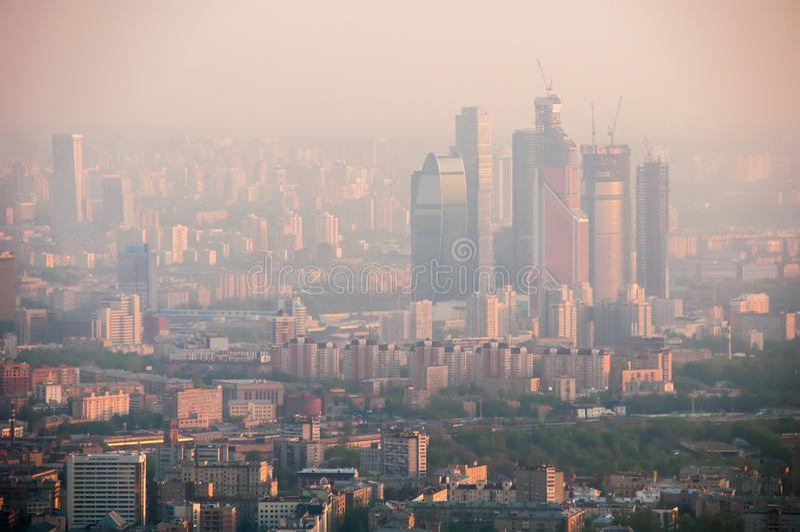 莫斯科概略的看法在黎明 图库摄影