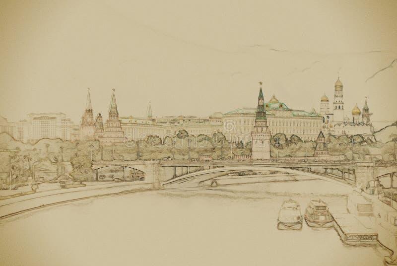 莫斯科河和克里姆林宫 库存例证