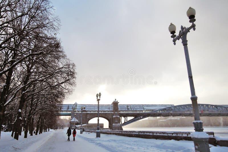 莫斯科河堤防的冬天视图和高尔基停放 库存图片