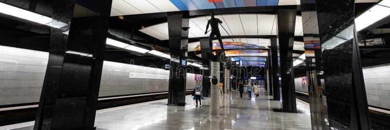 莫斯科,俄罗斯可以26日2019年,新的现代地铁车站CSKA 修造2018年Solntsevskaya地铁线 库存图片