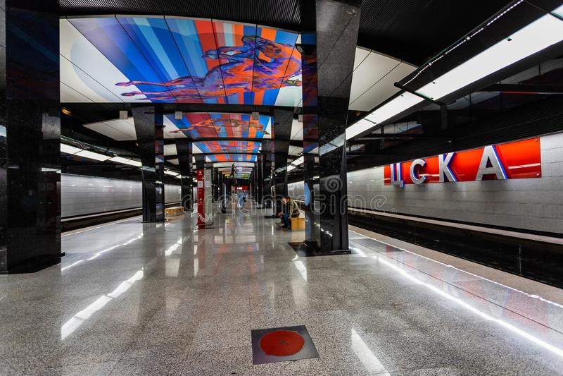 莫斯科,俄罗斯可以26日2019年,新的现代地铁车站CSKA 修造2018年Solntsevskaya地铁线 免版税库存图片