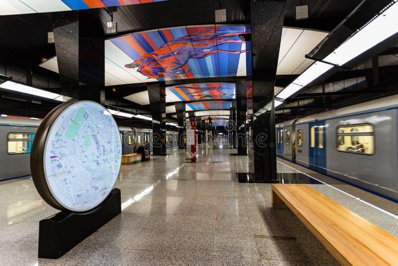 莫斯科,俄罗斯可以26日2019年,新的现代地铁车站CSKA 修造2018年Solntsevskaya地铁线 免版税图库摄影
