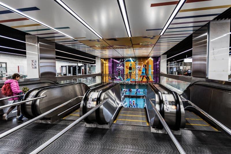 莫斯科,俄罗斯可以26日2019年,新的现代地铁车站Shelepiha 修造2018年Solntsevskaya地铁线 免版税库存照片
