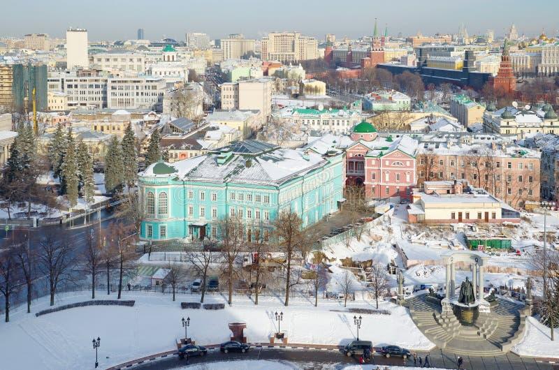 莫斯科,俄罗斯的历史中心空中屋顶视图  免版税库存照片