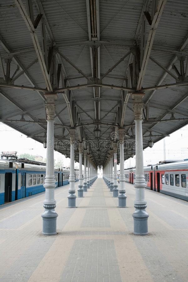 莫斯科,俄罗斯的铁路stration Emty平台 免版税库存照片