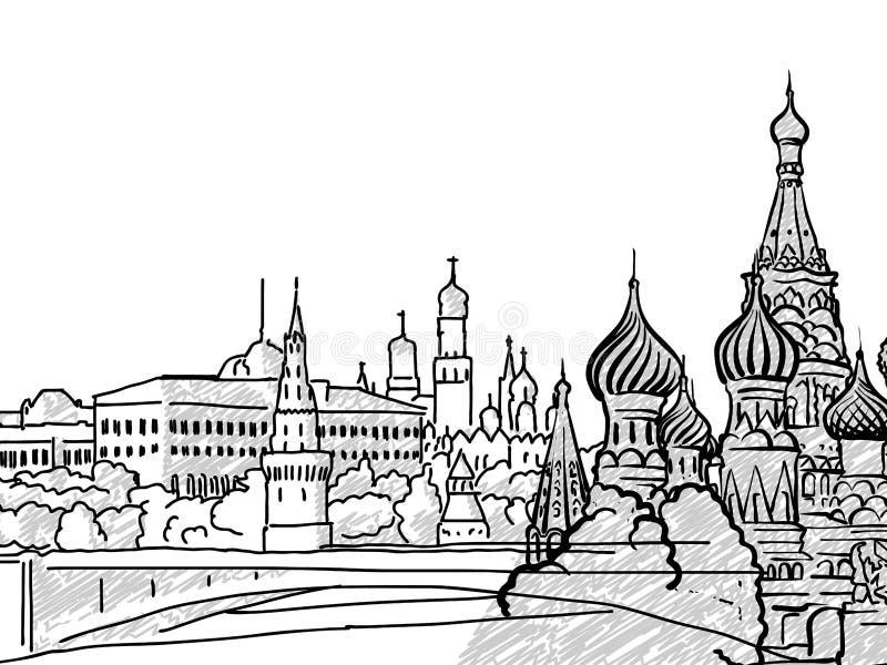 莫斯科,俄罗斯著名旅行剪影 向量例证