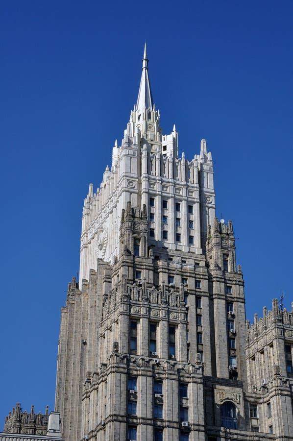 莫斯科,俄罗斯,对修造的看法部俄国联盟斯大林的摩天大楼内部事务  库存图片