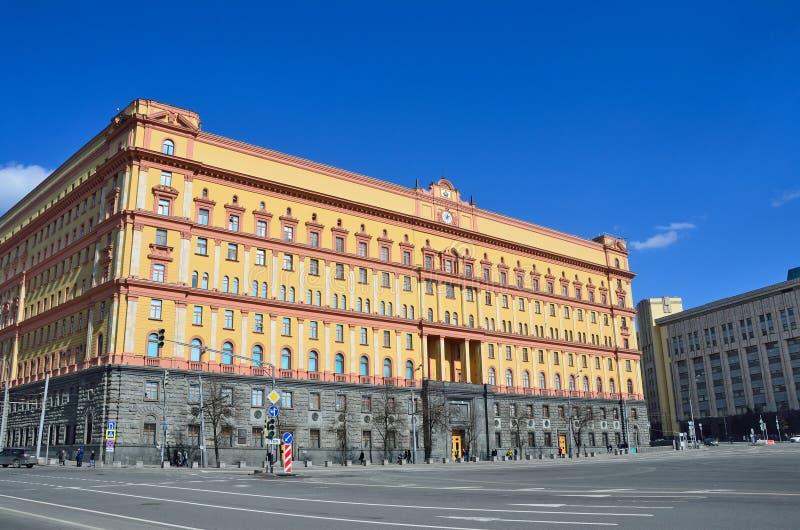 莫斯科,俄罗斯, 2017年4月, 15日 FSB大厦在Lubyanka广场的在莫斯科 免版税库存图片