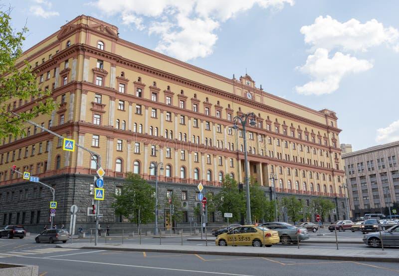 莫斯科,俄罗斯2019年5月6日,Lubyanskaya广场,FSB大厦的看法 免版税库存图片