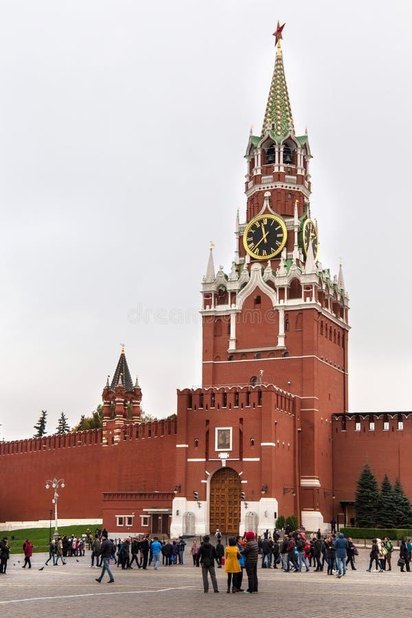 莫斯科,俄罗斯- 2016年10月06日:克里姆林宫的Spasskaya塔 免版税图库摄影