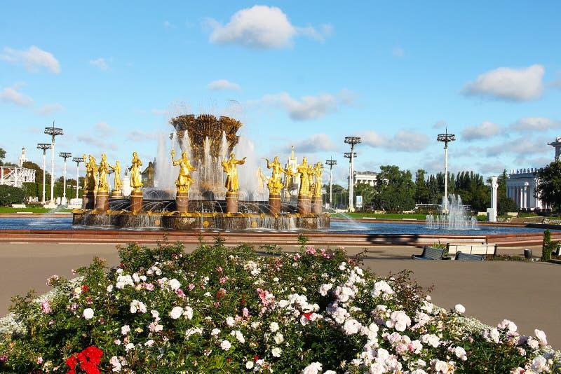莫斯科,俄罗斯- 2016年9月13日:喷泉人` `友谊在VDNH的 免版税库存图片