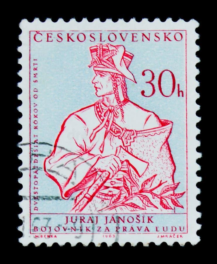 莫斯科,俄罗斯- 2017年6月20日:在Czechoslovaki打印的邮票 库存照片