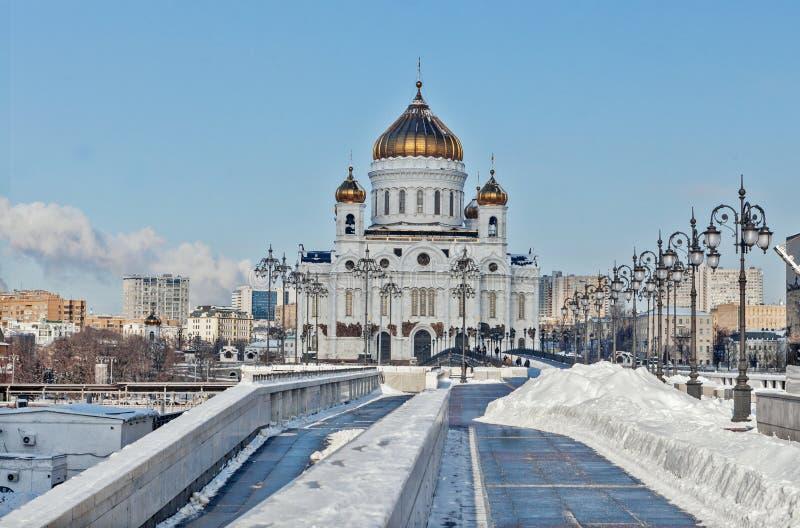 莫斯科,俄罗斯- 2018年2月22日:基督大教堂门面救主在莫斯科在晴朗的冬天早晨 免版税库存图片