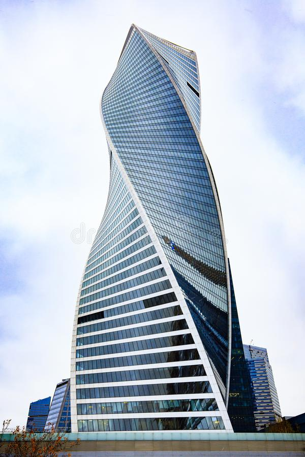 莫斯科,俄罗斯- 2016年11月5日:莫斯科国际商业中心 摩天大楼外部设计 免版税库存照片