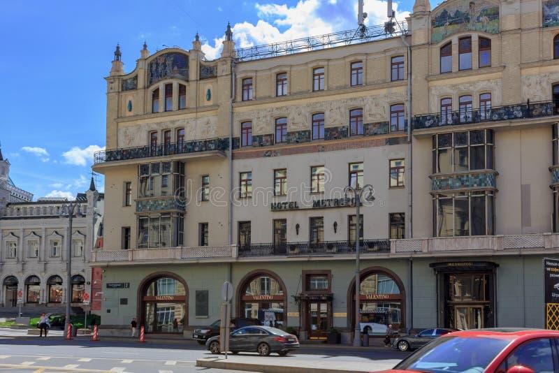 莫斯科,俄罗斯- 2018年6月03日:Metropol旅馆门面在Teatral ` nyy Proyezd街道上的在反对蓝天的莫斯科 免版税库存照片