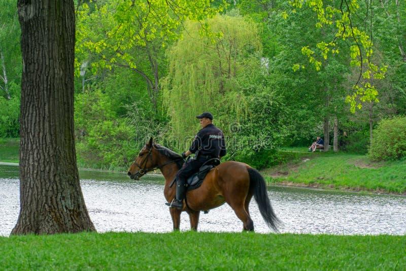 莫斯科,俄罗斯- 2019年6月12日 巡逻在公园的登上的警察 免版税库存照片