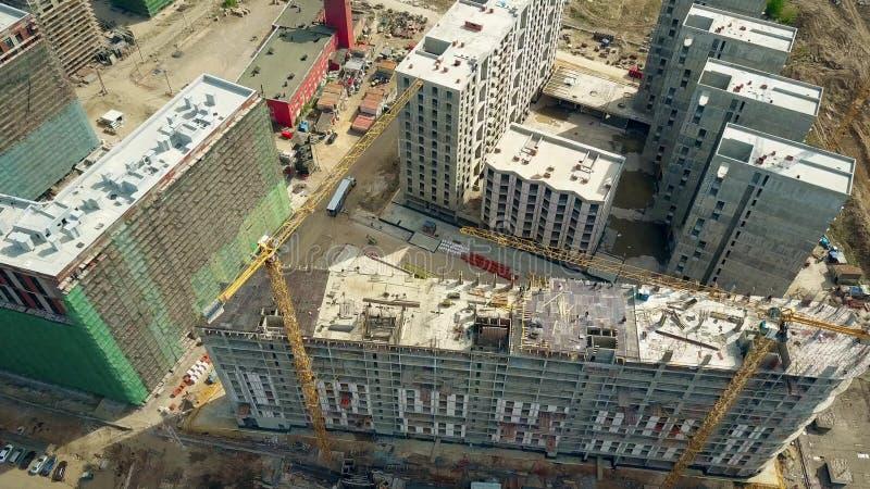 莫斯科,俄罗斯- 2017年5月, 24日 现代公寓Zilart建造场所空中射击  库存照片