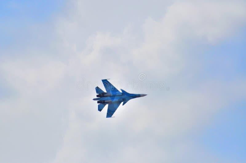 莫斯科,俄罗斯- 2015年8月:战机在t的Su30侧面部队C 免版税库存图片