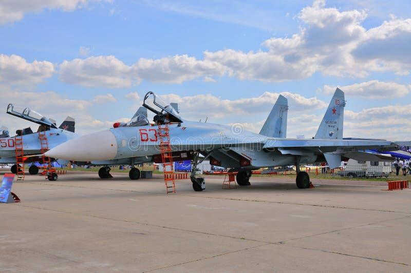 莫斯科,俄罗斯- 2015年8月:Su27侧面部队当前在第12个M 免版税库存照片