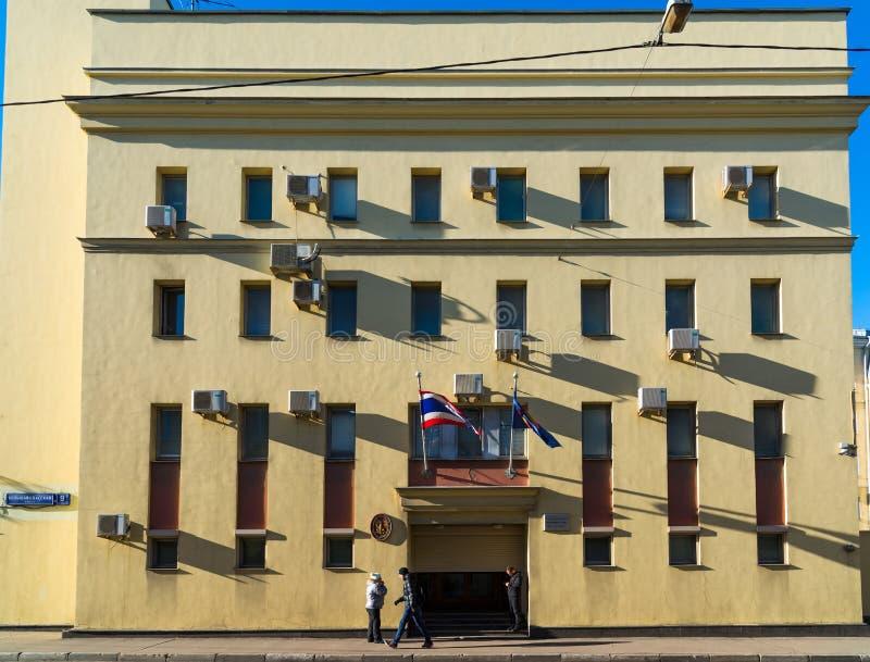 莫斯科,俄罗斯- 11月2 2017年 泰王国的使馆Bolshaya Spasskaya街的 库存图片