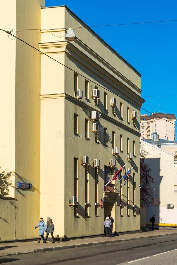 莫斯科,俄罗斯- 11月2 2017年 泰王国的使馆Bolshaya Spasskaya街的 免版税库存图片