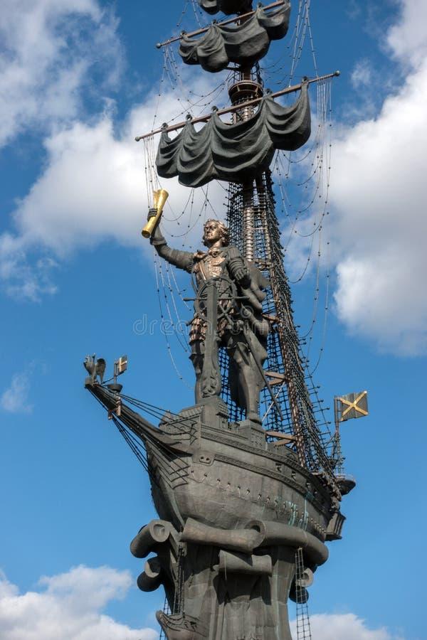 莫斯科,俄罗斯- 2017年3月23日:纪念碑的最前方对彼得大帝的 免版税库存图片
