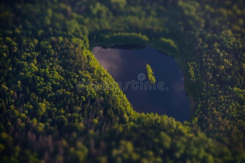 莫斯科,从飞机的湖 库存照片