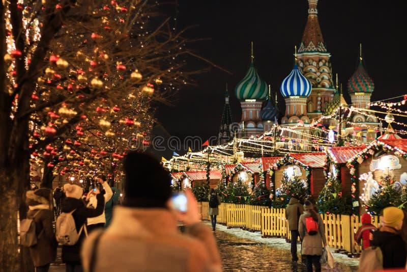 莫斯科- 2017年12月4日:在红场的圣诞节和新年装饰 库存照片