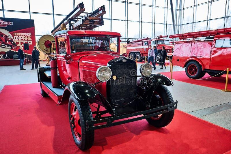 莫斯科- 2018年3月09日:PMG-1 1932在老陈列的消防车 库存照片