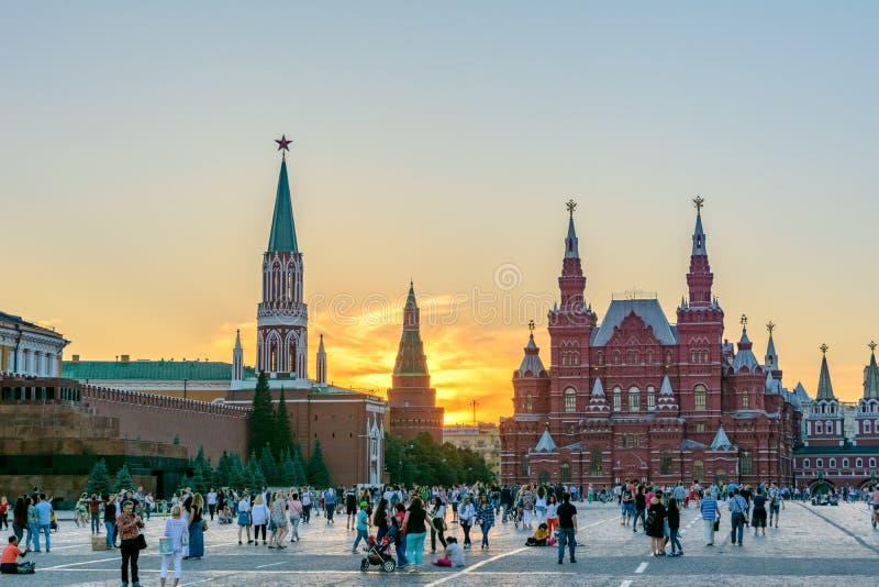 莫斯科-红场、历史博物馆和克里姆林宫主要视域  免版税库存图片