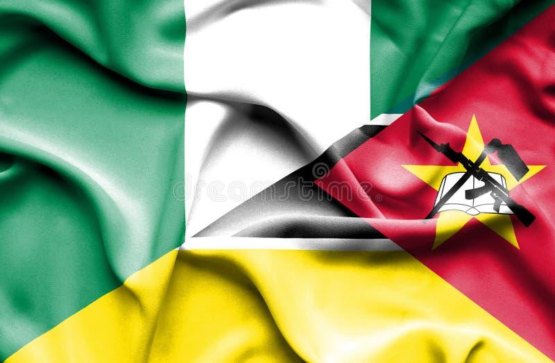 莫桑比克和尼日利亚的挥动的旗子 皇族释放例证