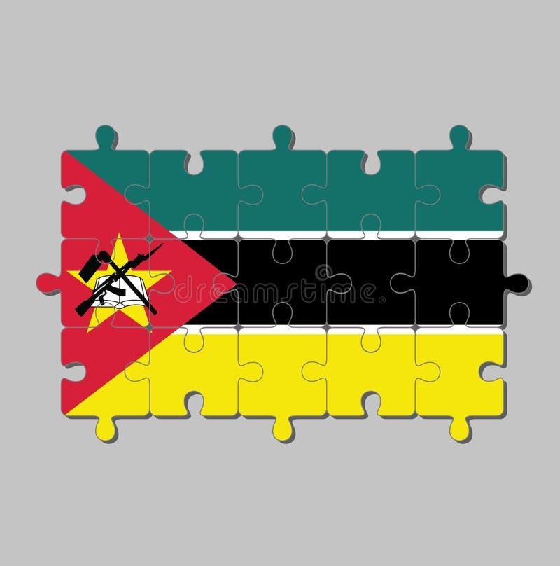 莫桑比克旗子拼图以绿色黑黄色和小白色与红色三角,AK-47攻击步枪和刺刀 皇族释放例证