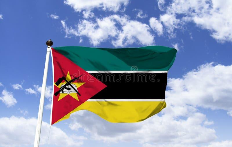 莫桑比克的旗子,星:书、锄和枪 免版税库存图片