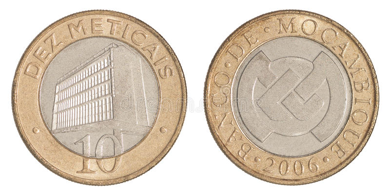 莫桑比克硬币测量 库存图片