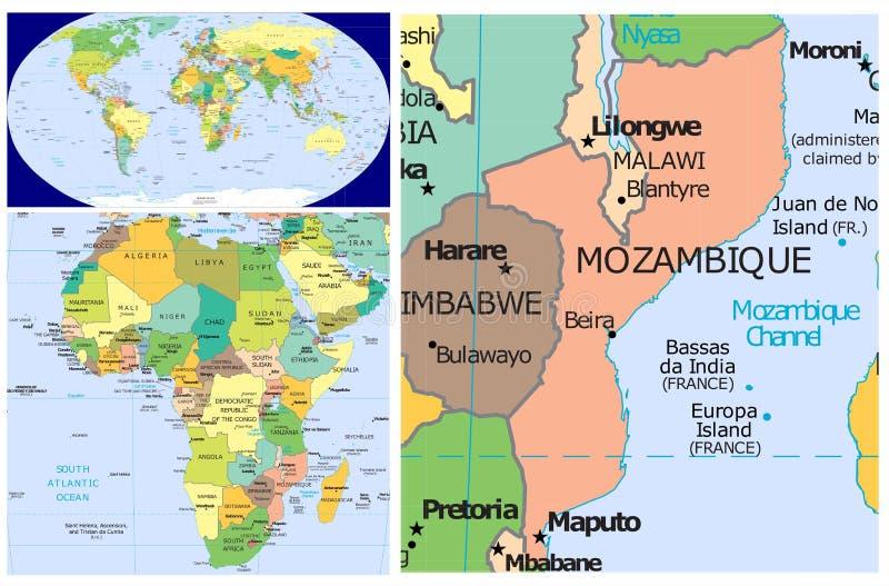 莫桑比克&世界 向量例证