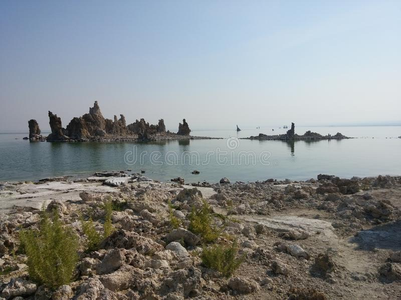 莫诺湖凝灰岩状态自然储备 图库摄影