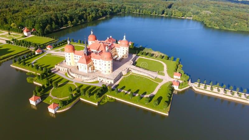 莫里茨堡城堡,萨克森-德国鸟瞰图  库存图片