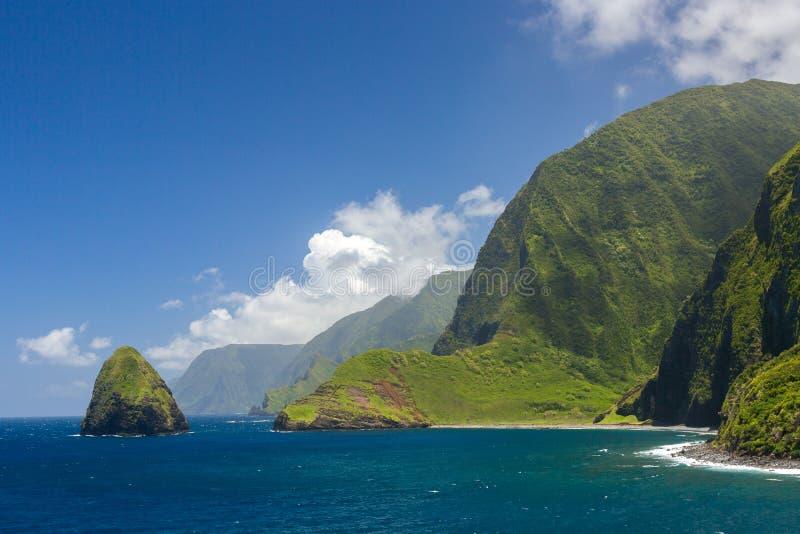 莫洛凯区,夏威夷,美国世界最高的海峭壁  免版税图库摄影