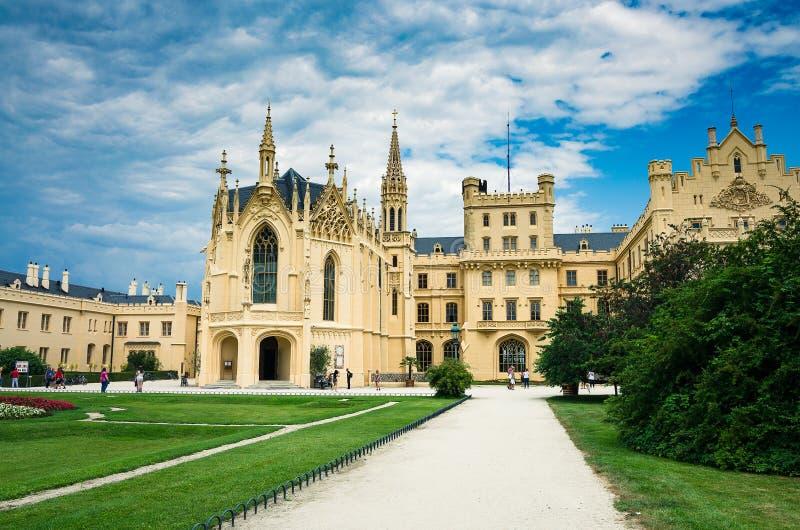 莱德尼采哥特式城堡前景 免版税库存图片
