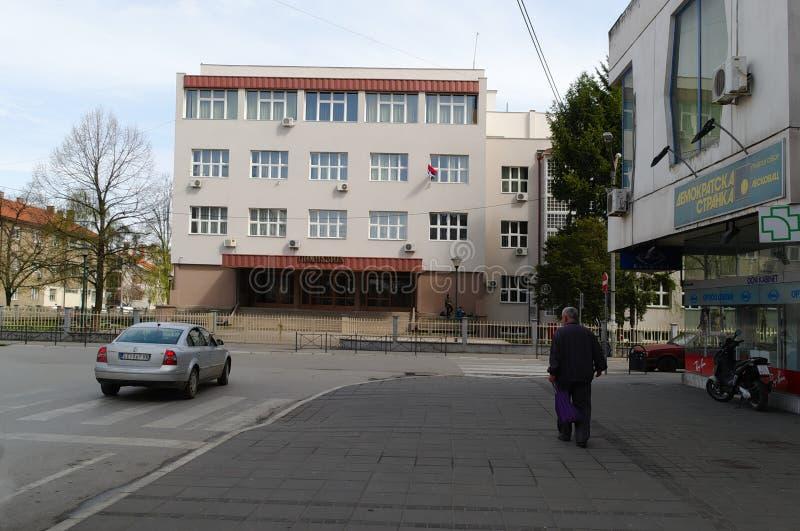 莱斯科瓦茨,塞尔维亚, 4月5日 2018年:高中,健身房大厦  图库摄影