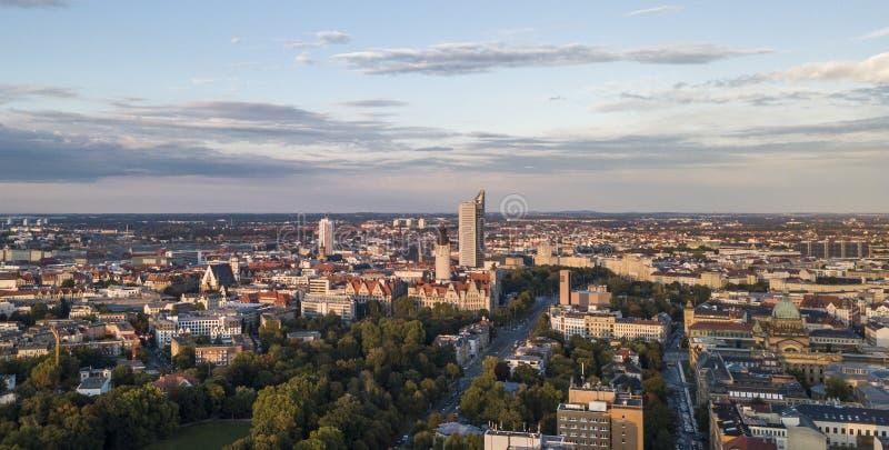 莱比锡的中央部分的鸟瞰图 免版税库存图片