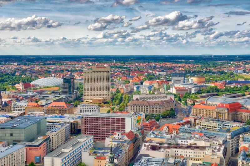 莱比锡,德国- 2016年7月17日:大厦鸟瞰图在ci的 库存图片