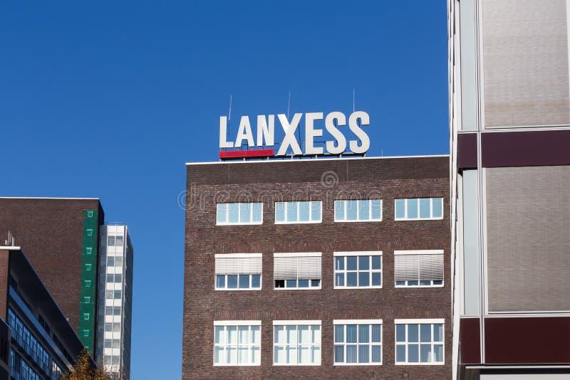 莱沃库森,北莱茵-威斯特法伦/德国- 23 11 18:lanxess签到莱沃库森德国 免版税库存图片